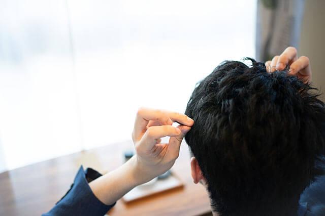 男性のヘアセット
