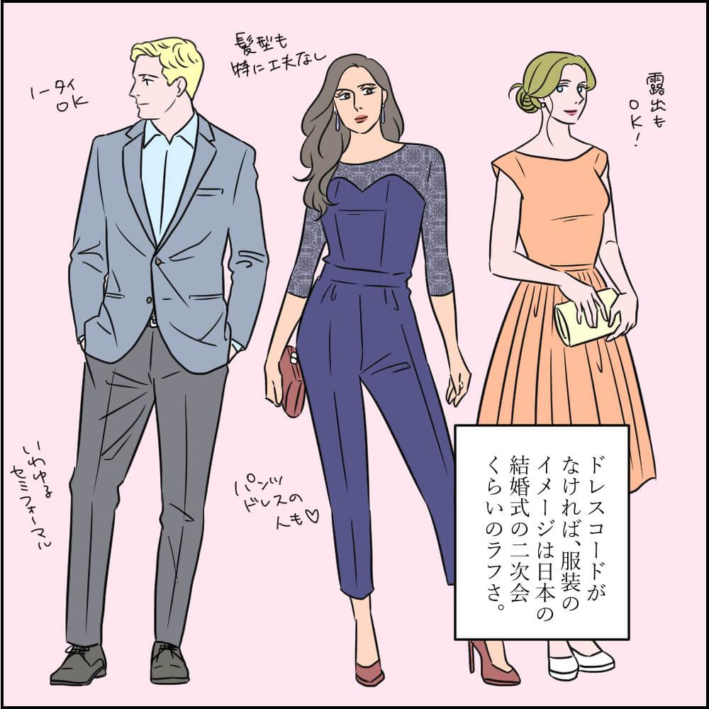 ドレスコードがなければ日本でいう二次会のカジュアルスタイル