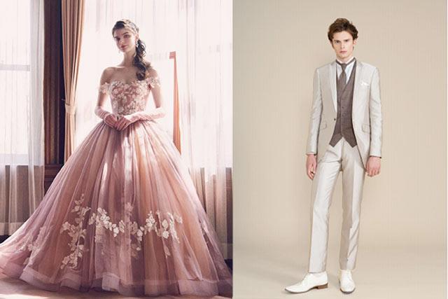 チョココーデウェディングフォト撮影で着るカラードレスとタキシード