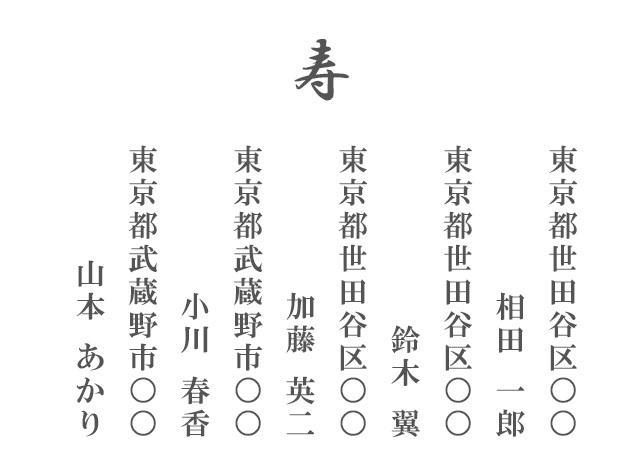 ご祝儀袋の表書きの書き方、名前、4名以上大人数の連名リスト