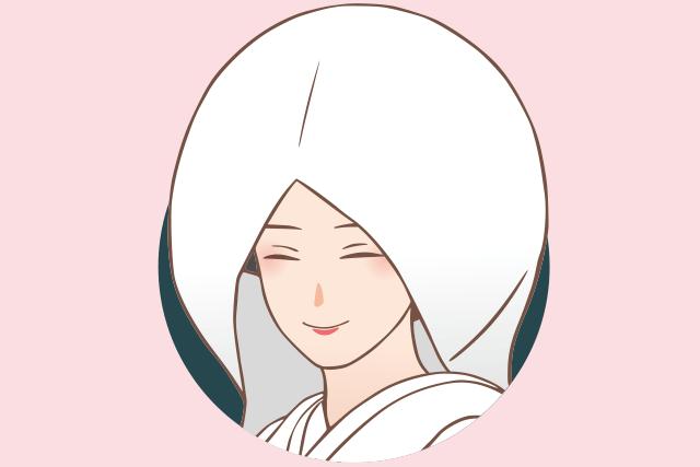 和装の綿帽子