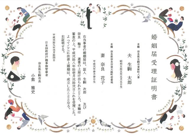 婚姻届受理証明書